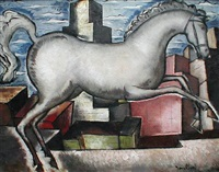 white horse in a cityscape, circa 1930's by bradley walker tomlin