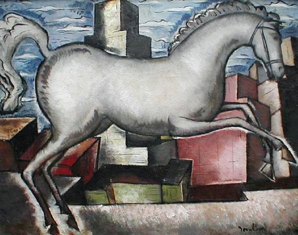 white horse in a cityscape, circa 1930's by bradley walker tomlin