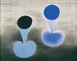 two blue forms on grey by paule vézelay