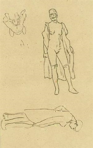 masked figures and two sketches of figures by félicien joseph victor rops