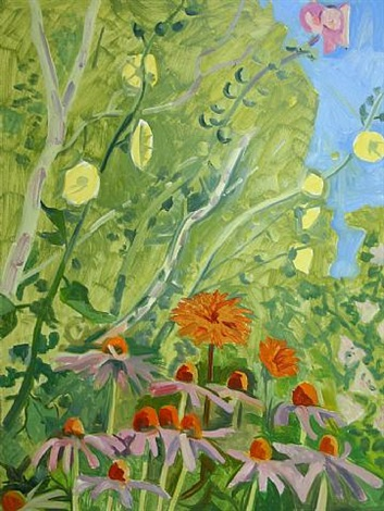 hollyhocks, dahlias, echinacea by lois dodd