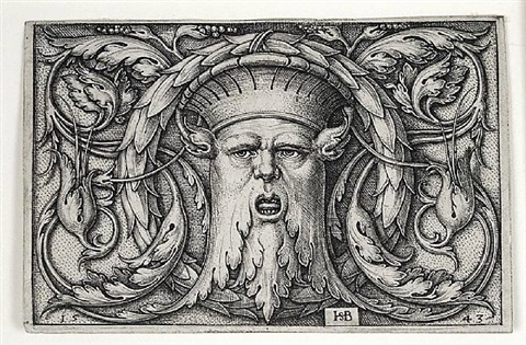 panel with a mascaron by hans sebald beham