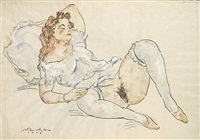 semi nude reclining by anton emanuel peschka