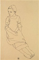 seated young girl by egon schiele