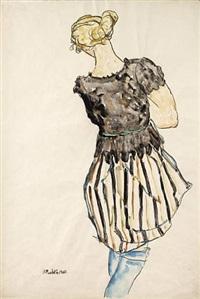 girl in striped dress by anton emanuel peschka