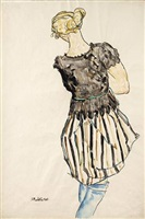 girl in striped dress by anton emanuel peschka