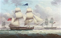 the brig 'concord' in two positions by henry collins
