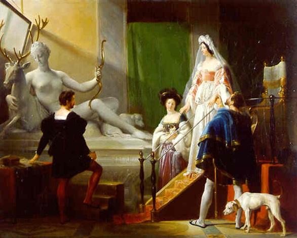 henri ii and diane de poitiers in jean goujon's studio by alexandre-évariste fragonard
