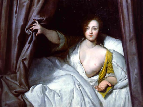 woman pulling a curtain by jean-baptiste santerre