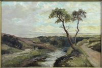 river landscape with strolling figure by abraham hulk the younger