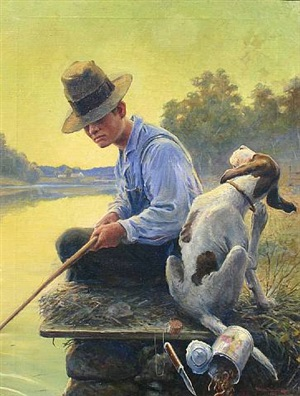 fishing on the bank by william harnden foster