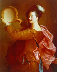 portrait of a woman with a tambourine by alexis grimou