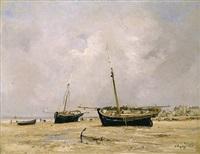 bateaux, marée basse by jules jacques veyrassat