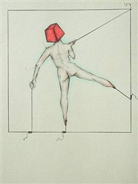 red cube man 1 by peggy wauters