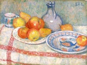 still life, apples and pears (nature morte, pommes et poires) by georges d'espagnat