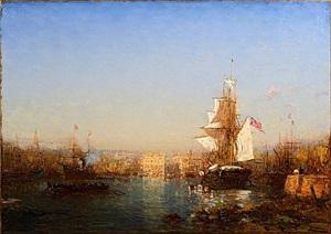 navire américain dans le port de marseille by félix ziem