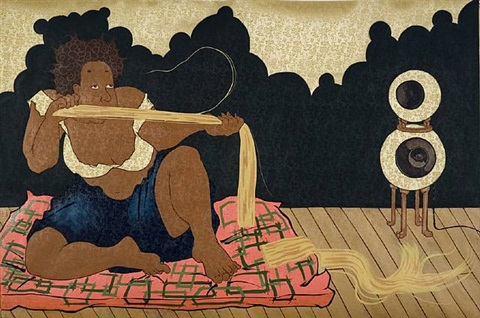 """midnight in the ...den of good and weavin"" (after kuniyoshi's ""the orphan star amid the stars of earth"") by iona rozeal brown"
