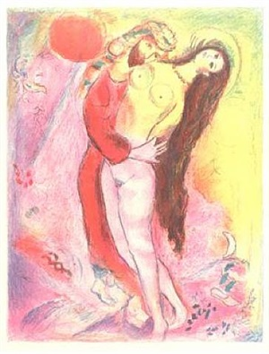 arabian nights, plate 4 'disrobing her with his own hand, the king looked upon her body and saw it as if it were a silvern ingot... ' by marc chagall