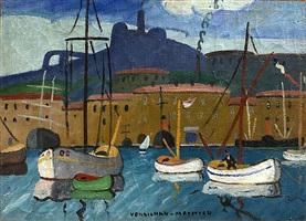 vieux port – notre dame de la garde by louis mathieu verdilhan