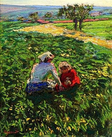 mère et enfant dans les champs by rené auguste seyssaud
