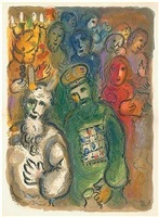 moses and aaron gathered all the elders of the children of israel by marc chagall