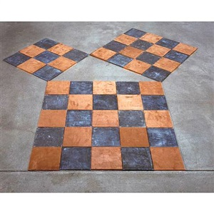 the void enclosed by lead & copper squares of three, four, & five by carl andre