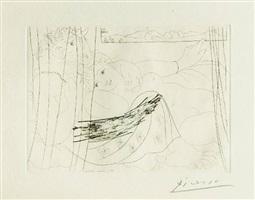 minotaure et jeune femme derrière un rideau by pablo picasso