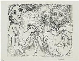 minotaure, buveur et femmes by pablo picasso