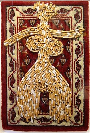 untitled (cigarette butts and matches on carpet) by al (alfred earl) hansen