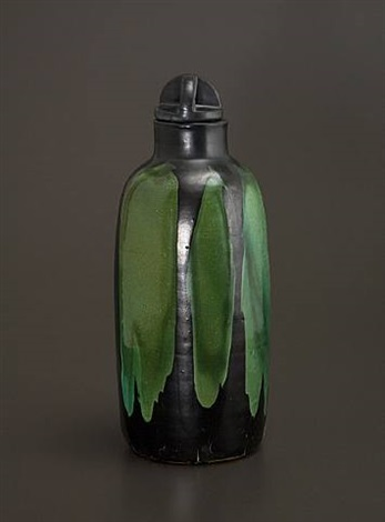 jade green bottle with lid by max laeuger