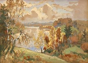 autumn landscape (sold) by konstantin ivanovich gorbatov