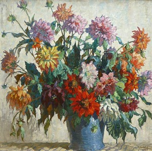 flowers (sold) by konstantin ivanovich gorbatov