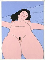 untitled (woman on a blue blanket) by john wesley