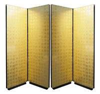 a pair of 2-panel 24-karat gold-leafed folding screens by nick mongiardo by nick mongiardo