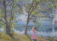 les acacias du lac by hughes claude pissarro