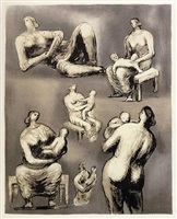 reclining figure & mother and child studies by henry moore
