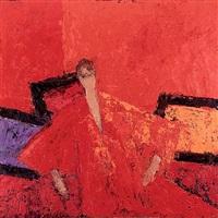 rachel au kimono rouge by bernard cathelin