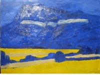 champs de coza au pied du vercors by bernard cathelin