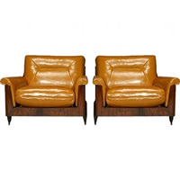 pair of rosewood and leather case chairs by jorge zalszupin by jorge zalszupin