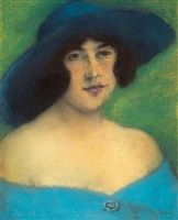 portrait of woman with a hat by józsef rippl-rónai