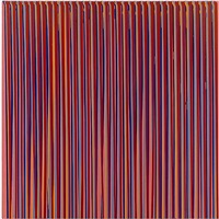 poured lines: dark pink, blue, orange, grey blue, red by ian davenport