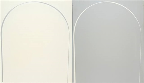 poured reversal painting: white, grey by ian davenport