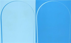 poured reversal painting: light blue, blue by ian davenport