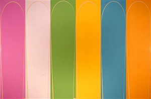 poured painting: pink, cream, pale green, yellow, pale turquoise, orange by ian davenport