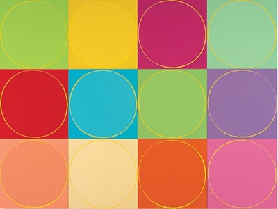 untitled circle painting: 12 multicoloured panels, no.1 by ian davenport
