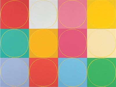 untitled circle painting: 12 multicoloured panels, no.2 by ian davenport