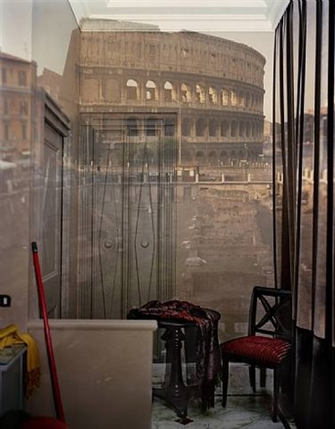 upright camera obscura of the coliseum inside room #20 at the hotel gladitori, rome, italy, 2007 by abelardo morell