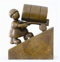 woman with oil barrel by tom otterness