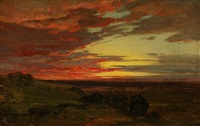 red sunset at ledges, new hampshire (sold) by aaron draper shattuck
