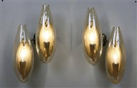 pair of sconces by venini co.